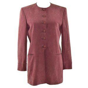 Jones New York Silk Button Front Lined Suit Blazer